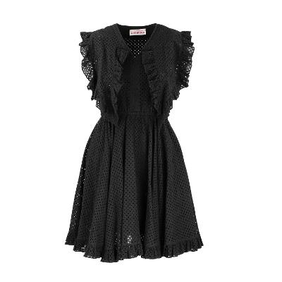 dot embroidery lace dress black